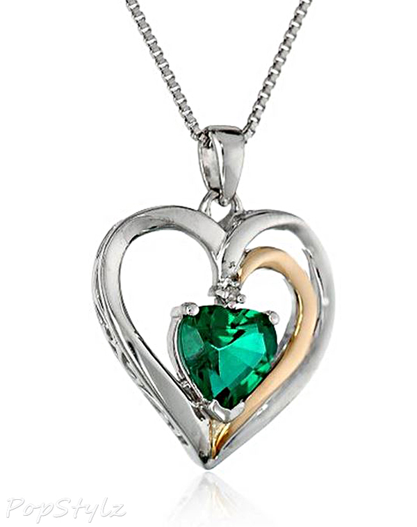 Emerald Heart with Diamond Accent Necklace