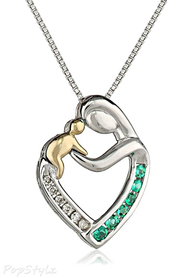Mother's Created Emerald Jewel Heart Necklace