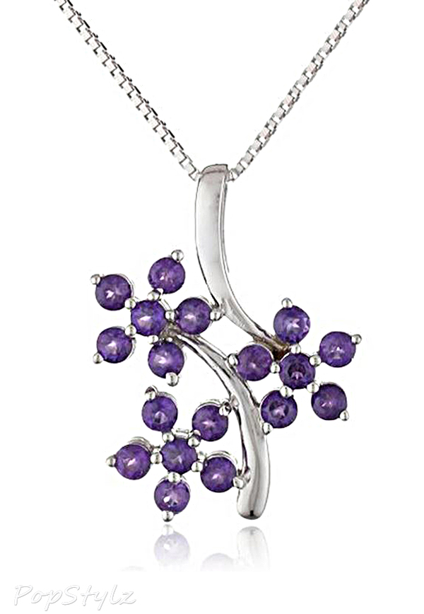 "Amethyst ""3 Flowers"" Pendant Necklace"