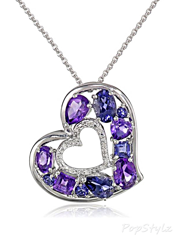 Amethyst Diamond-Accented Heart Necklace