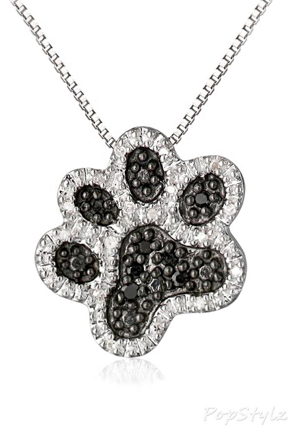 Diamond Dog Paw Pendant Necklace