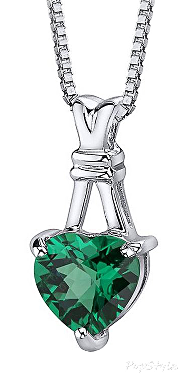 Simulated Emerald Heart Pendant Necklace