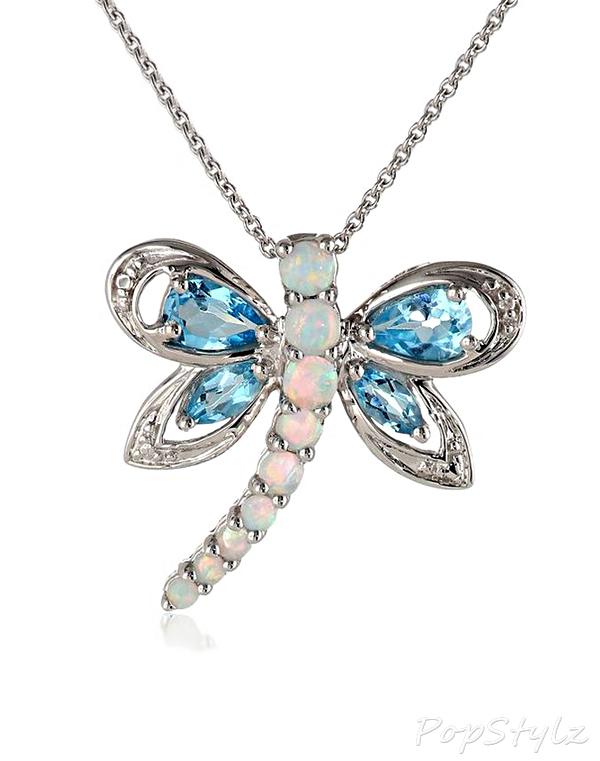 Dragonfly Blue Topaz & Opal Necklace