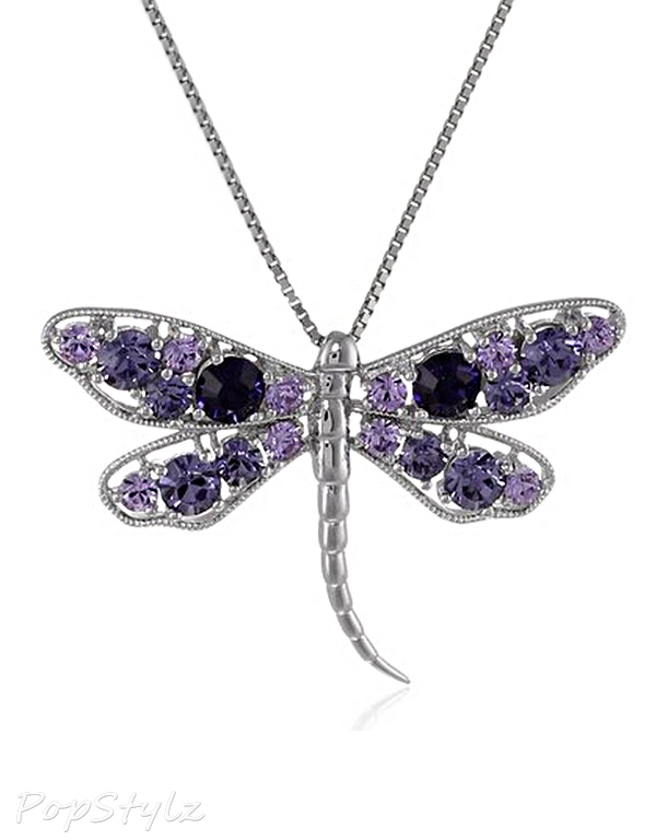 Purple Velvet Crystal Dragonfly Necklace