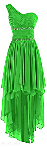 Sunvary Green Chiffon One Shoulder High Low Bridesmaid Homecoming Evening Gown Dress