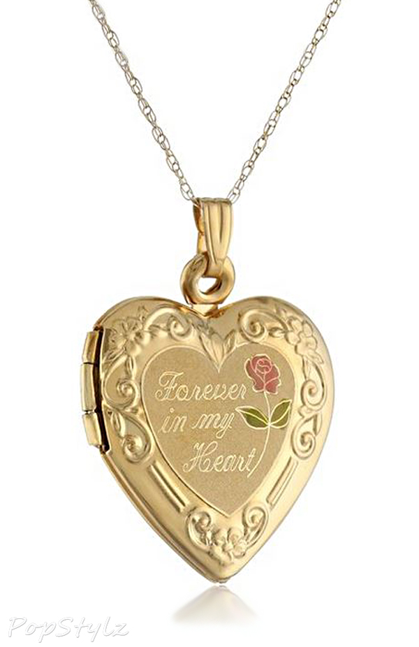 """14k Gold """"Forever In My Heart"""" Locket Necklace"""