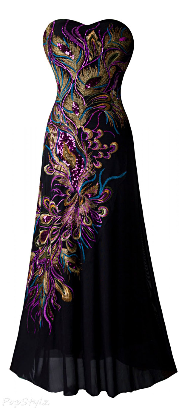 Angel-fashions Peacock Feather Embroidery Evening Gown
