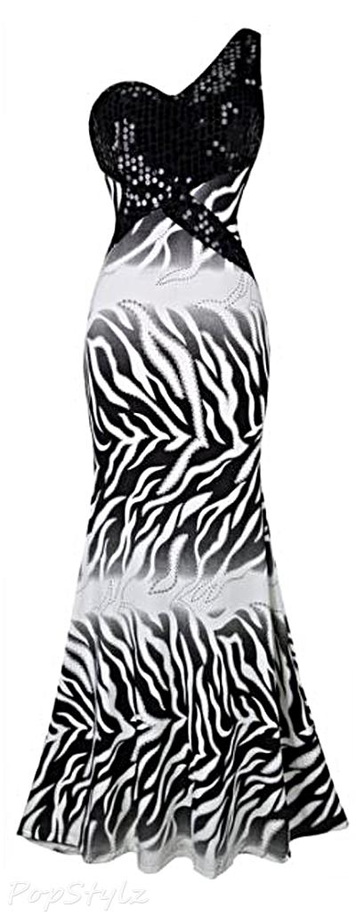 Angel-fashions Sequined Zebra-Stipe Maxi Dress