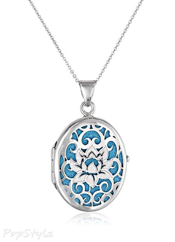 Italian Sterling Silver Lotus Flower Locket Necklace