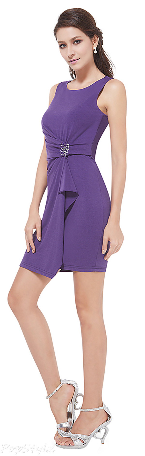 Ever Pretty 05246 Classy Sleeveless Purple Cocktail Dress