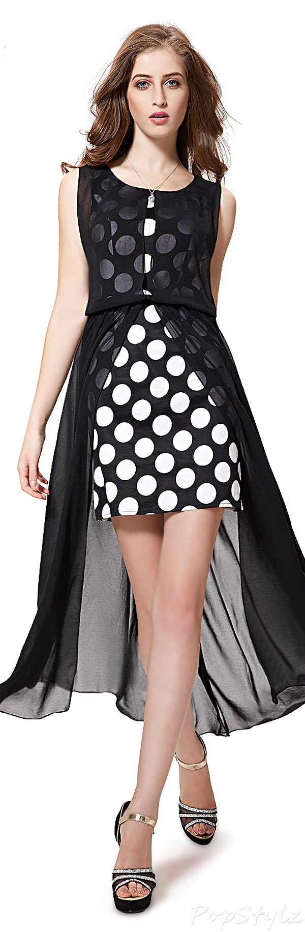Ever Pretty 08332 Polka Dot Overlay Cocktail Party Dress