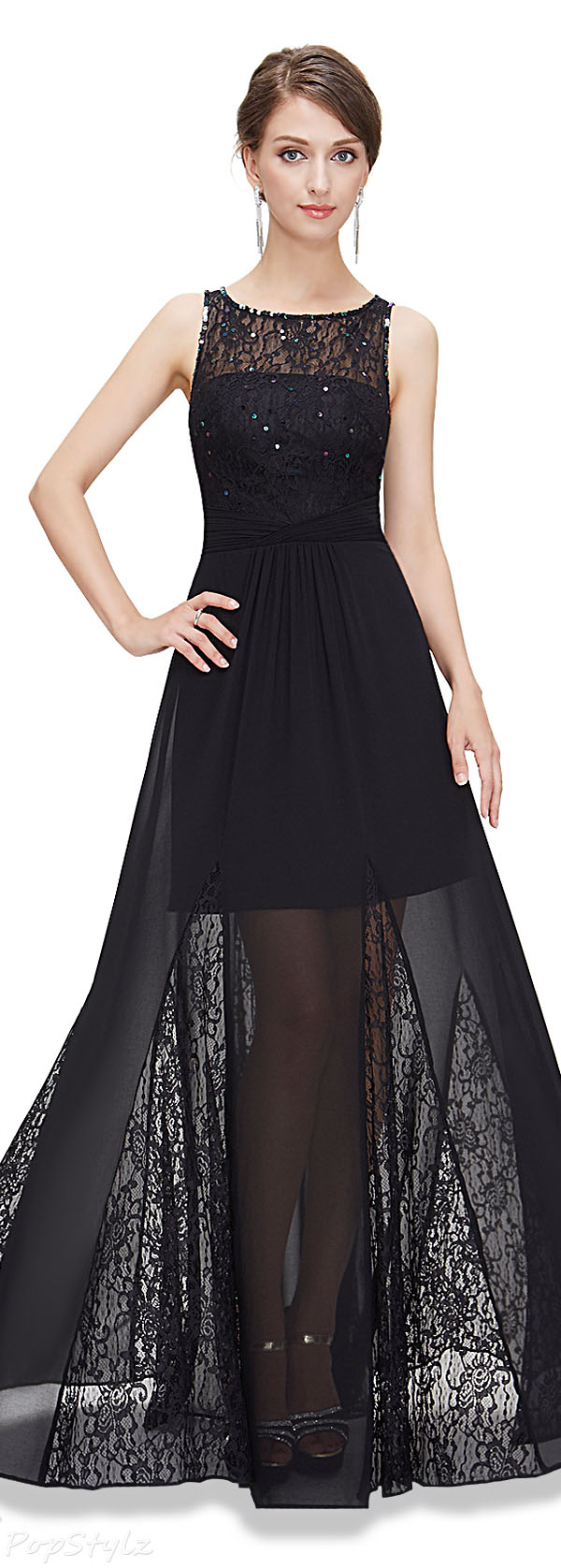 Ever Pretty 08347 Lace Illusion Semi Sheer Dress
