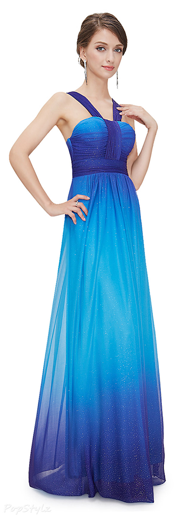 Ever Pretty 08393 Blue Ombre Shimmery Evening Gown