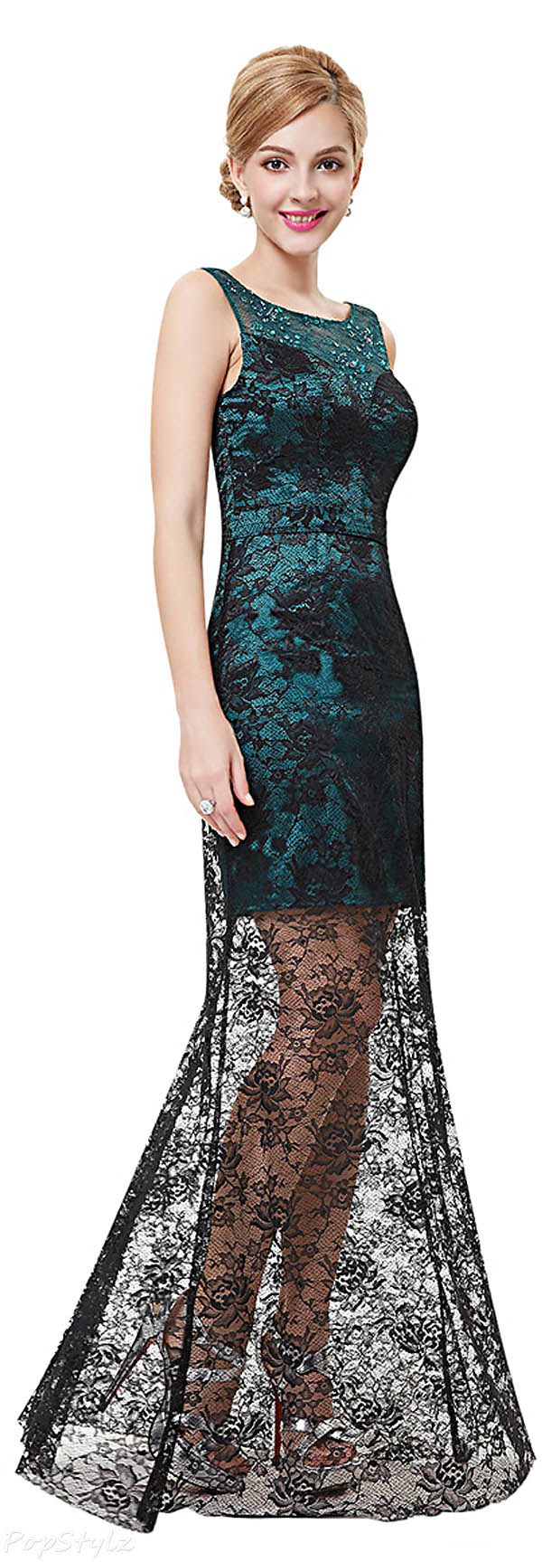 Ever Pretty 08465 Semi Sheer Hi-Lo Lace Cocktail Dress