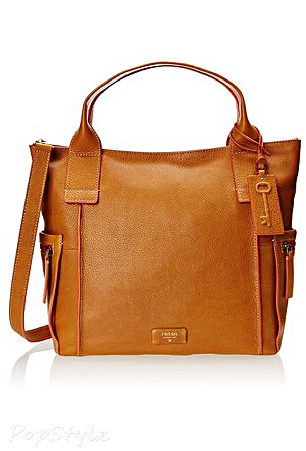 Fossil Emerson Lock Handle Leather Handbag