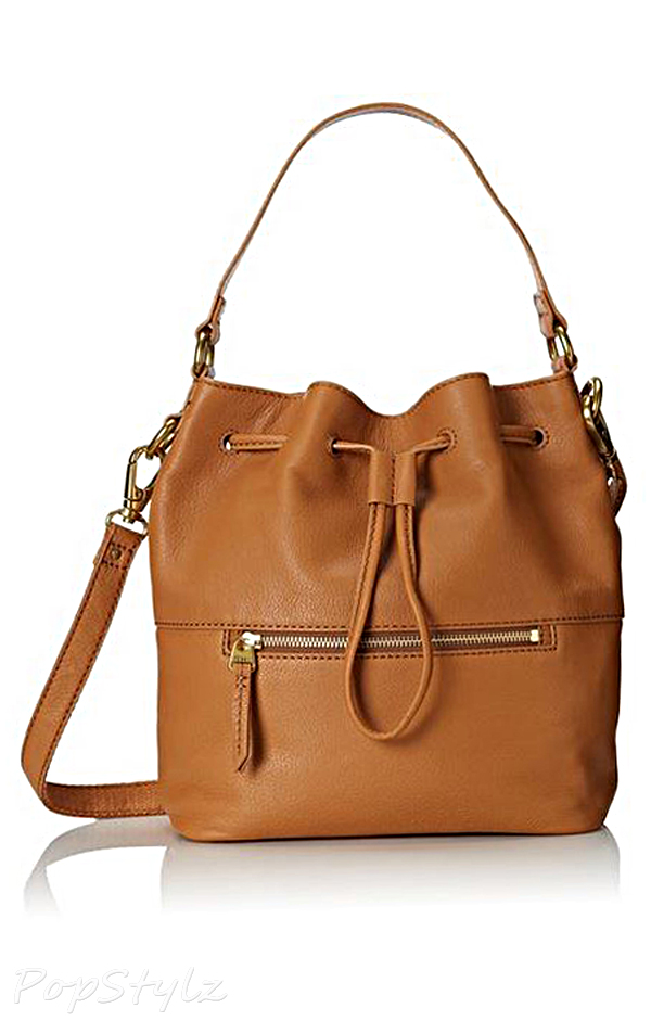 Fossil Vickery Draw-string Leather Satchel Handbag