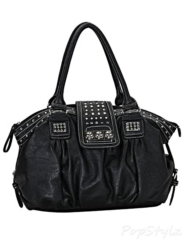 MG Collection Brenna Metal Studded Soft Handbag
