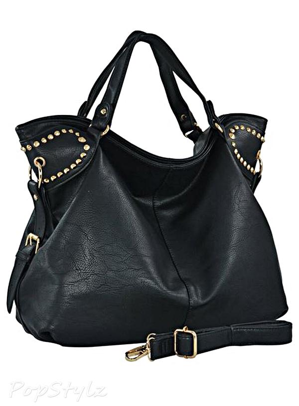 MG Collection Rinah Oversized Studded Handbag