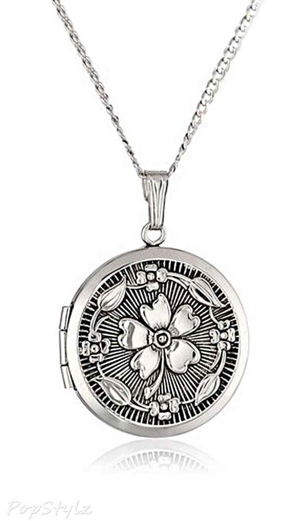 Sterling Silver Embossed Antique-Finish Locket Necklace