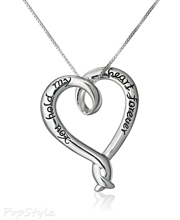 """""""You Hold My Heart Forever"""" Heart Pendant Necklace"""