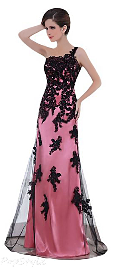 Sunvary 2015 Watermelon Satin & Black Lace Formal Dress