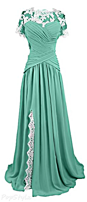 Sunvary Chiffon & Lace Vintage Style Long Gown
