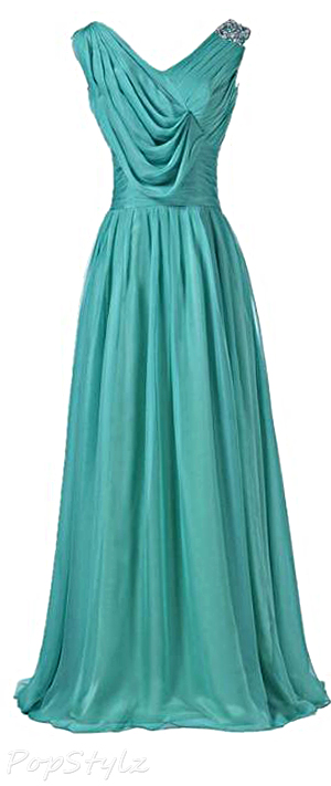 Sunvary V Neck Chiffon Long Formal Dress