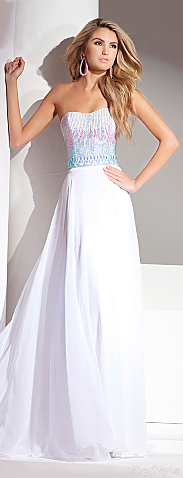 Tony Bowls 115544 Strapless Sweetheart Beaded Evening Gown
