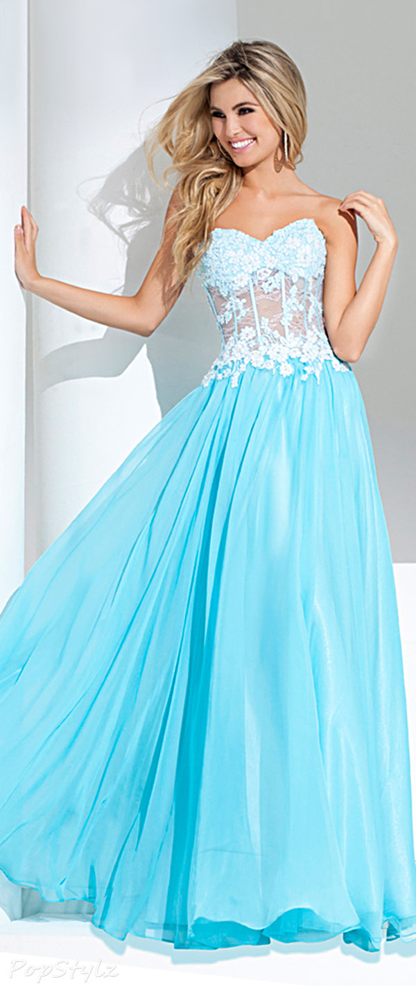 Tony Bowls 115573 Strapless Sweetheart Lacy Evening Gown