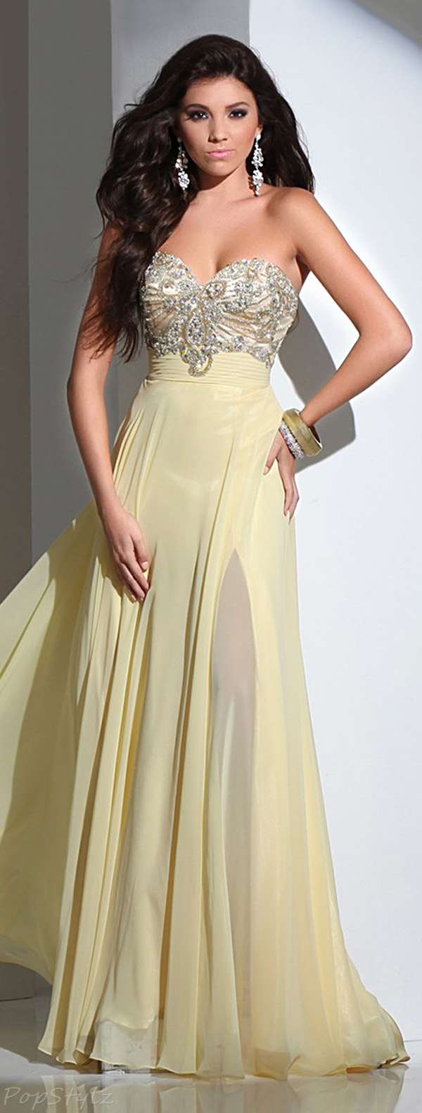 Tony Bowls 115714 Strapless Long Flowing Gown