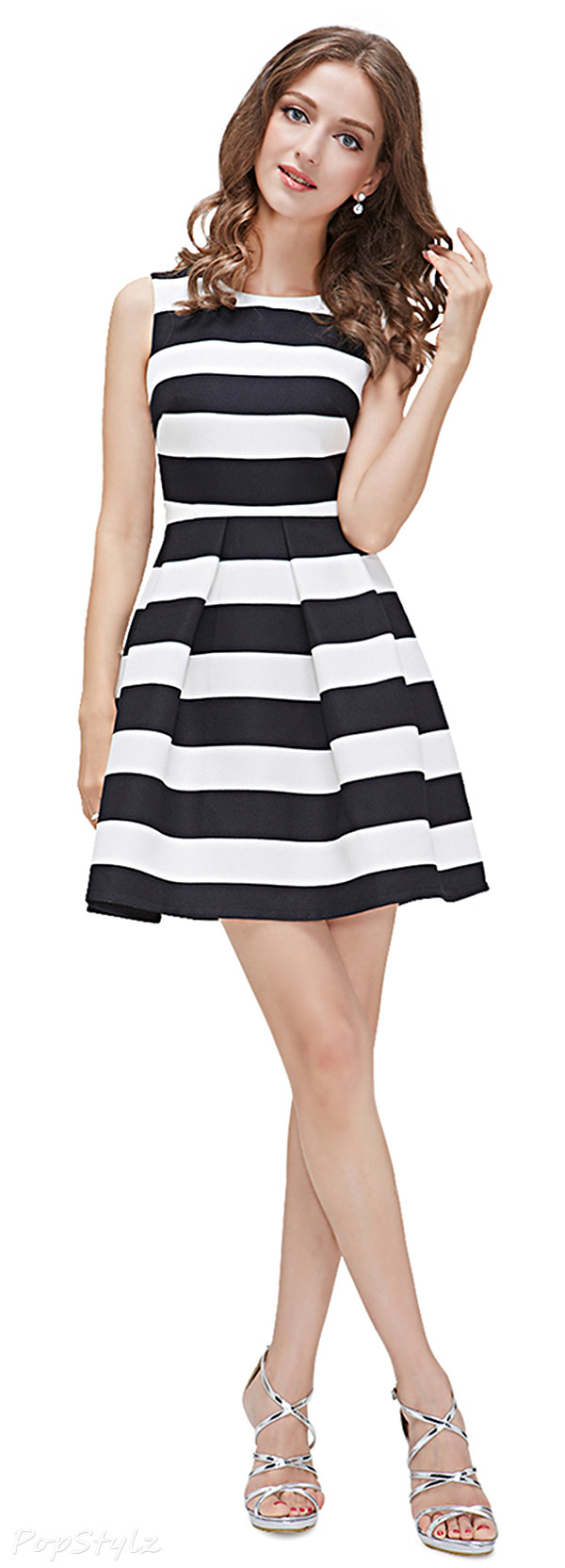 Alisa Pan 05085 Black Striped Fitted Short Casual Dress