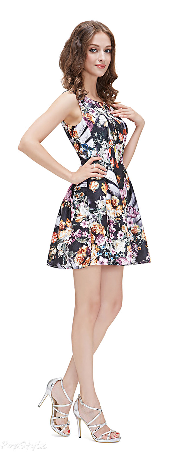 Alisa Pan 05212 Floral Printed Multicolor Short Casual Dres