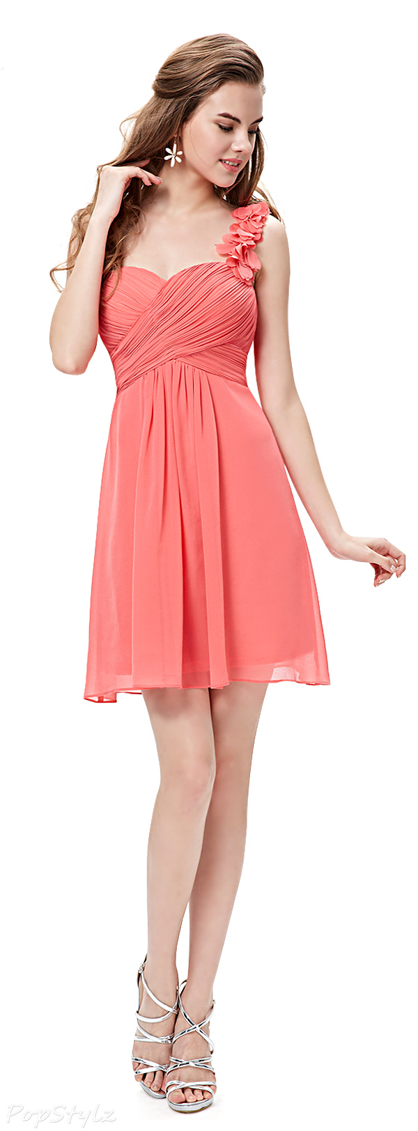 Ever Pretty 03535 One Shoulder Ruffled Short Bridesmaid Dress