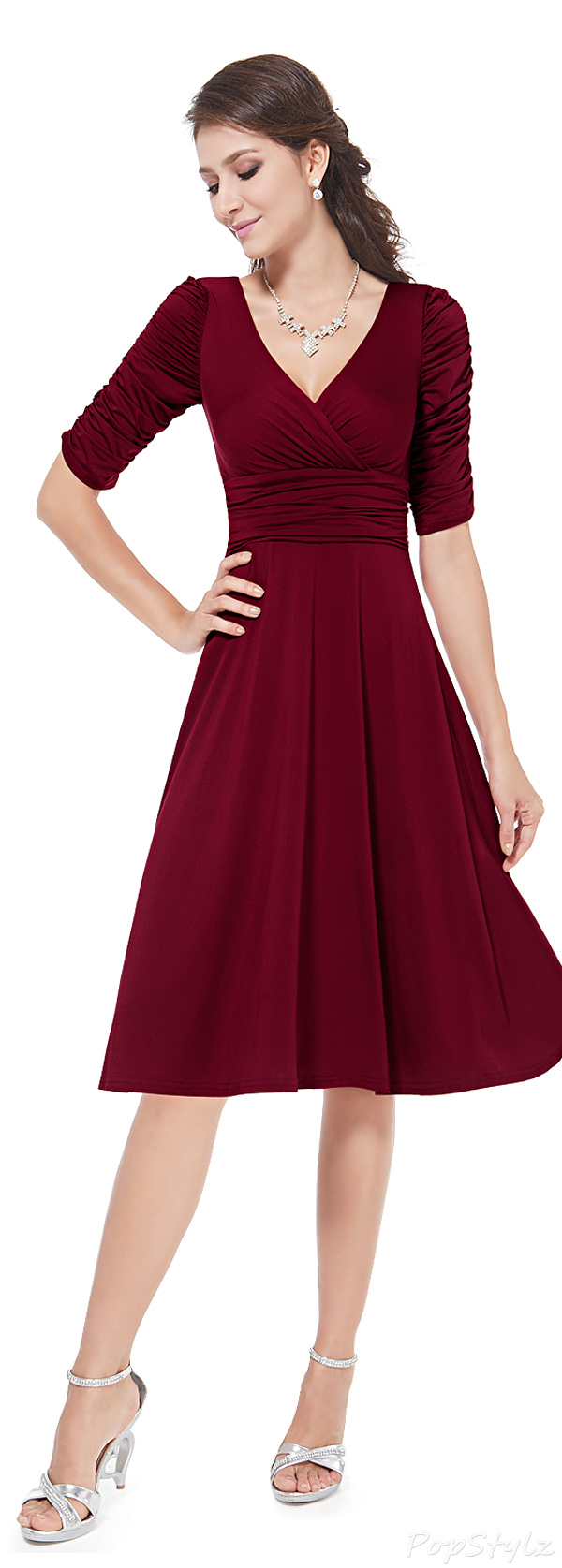 Ever Pretty 03632 3/4 Sleeve Ruched Waist Classy V-Neck Casual Cocktail Dress