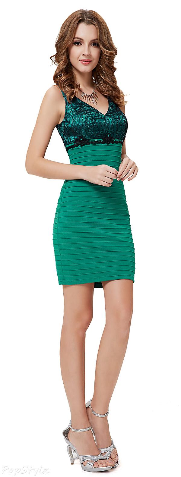 Ever Pretty 03895 V-Neck Black Lace Green Mini Cocktail Dress