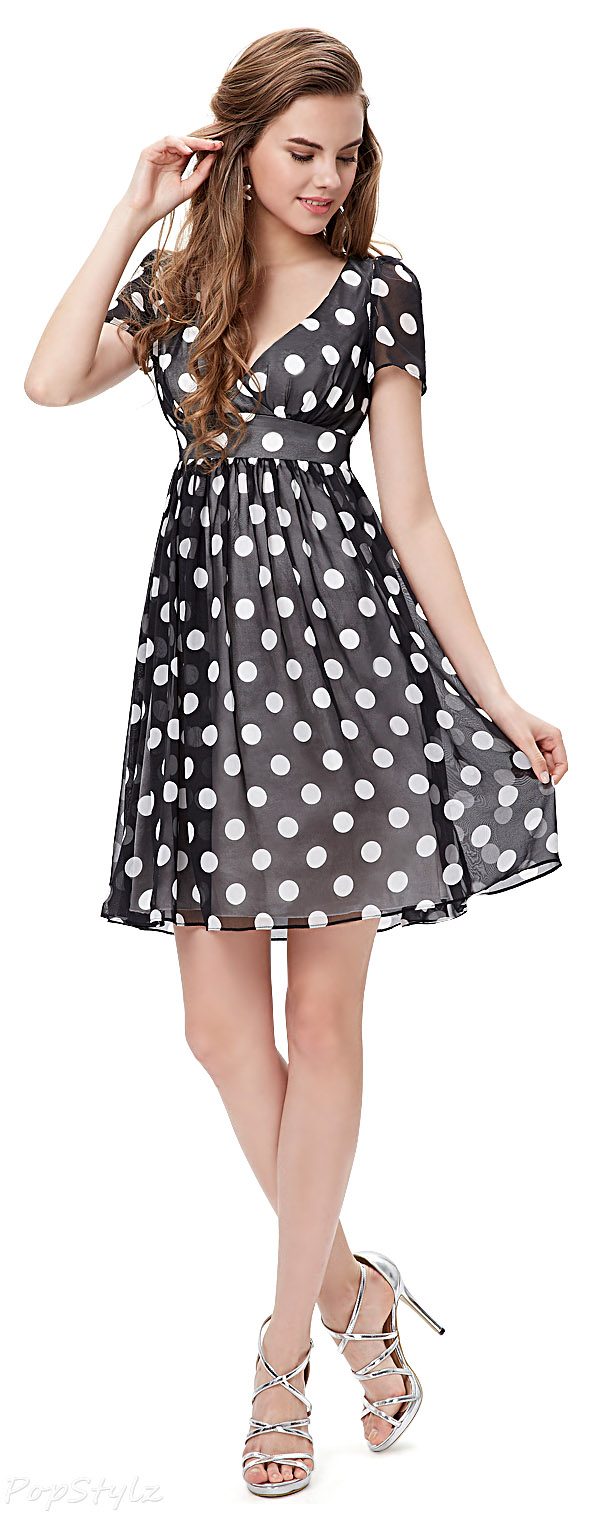 Ever Pretty 03933 Black & White Short Sleeve V-Neck Polka Dot Dress