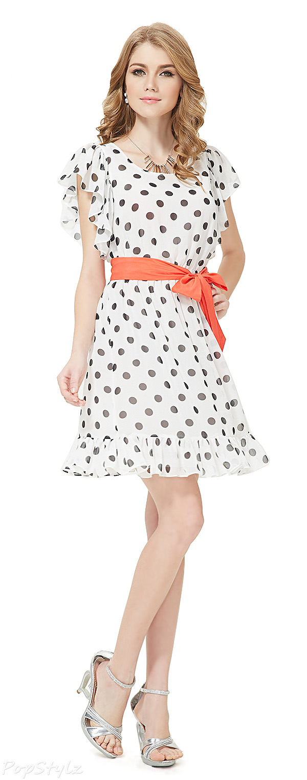 Ever Pretty 05040 Adorable Polka-dotted Butterfly Sleeve Chiffon Dress