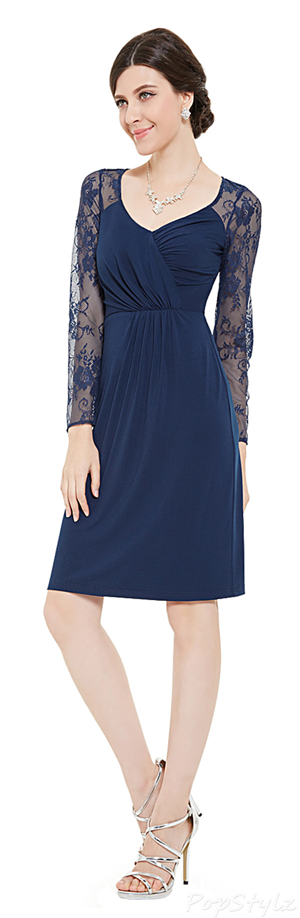 Ever Pretty 05340 Long Sleeve Lace Short Cocktail Dress