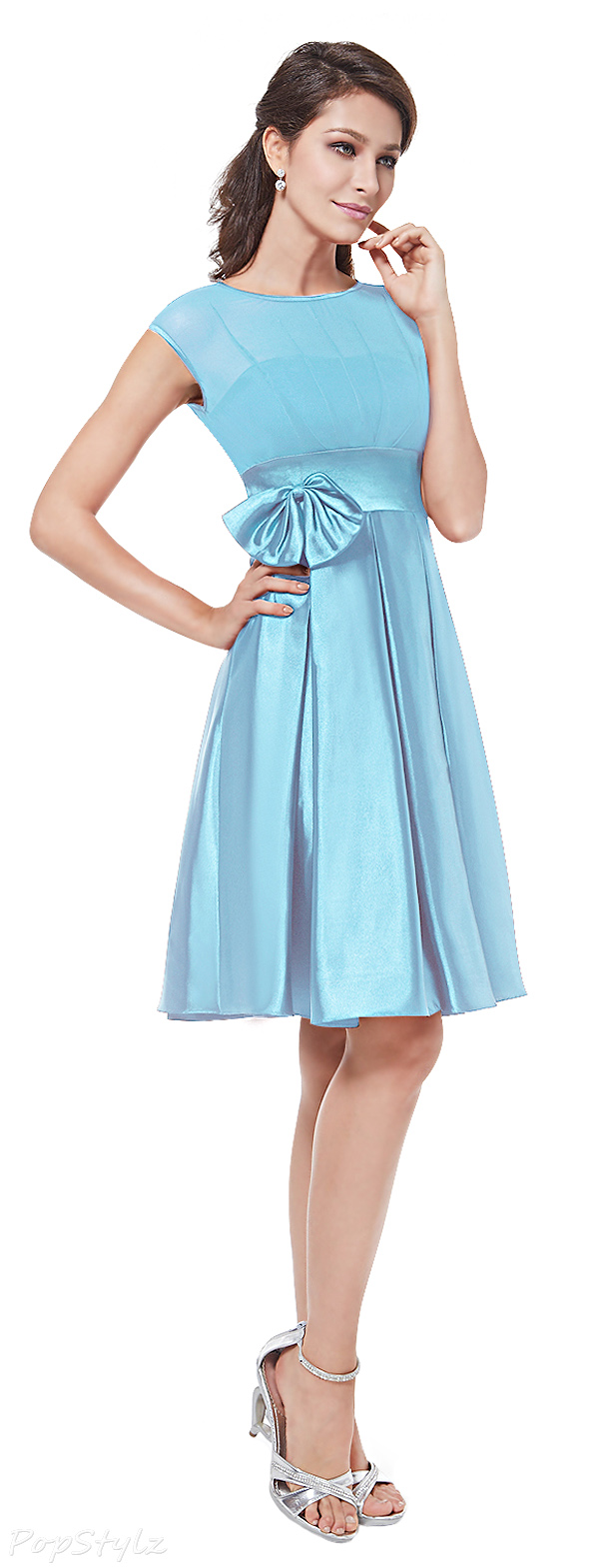 Ever Pretty 06113 Bowtie Round Neck Ruffles Satin Cocktail Dress