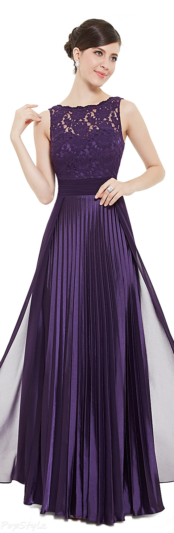 Ever Pretty 08352 Sleeveless Lace Pleated Long Formal Evening Dress