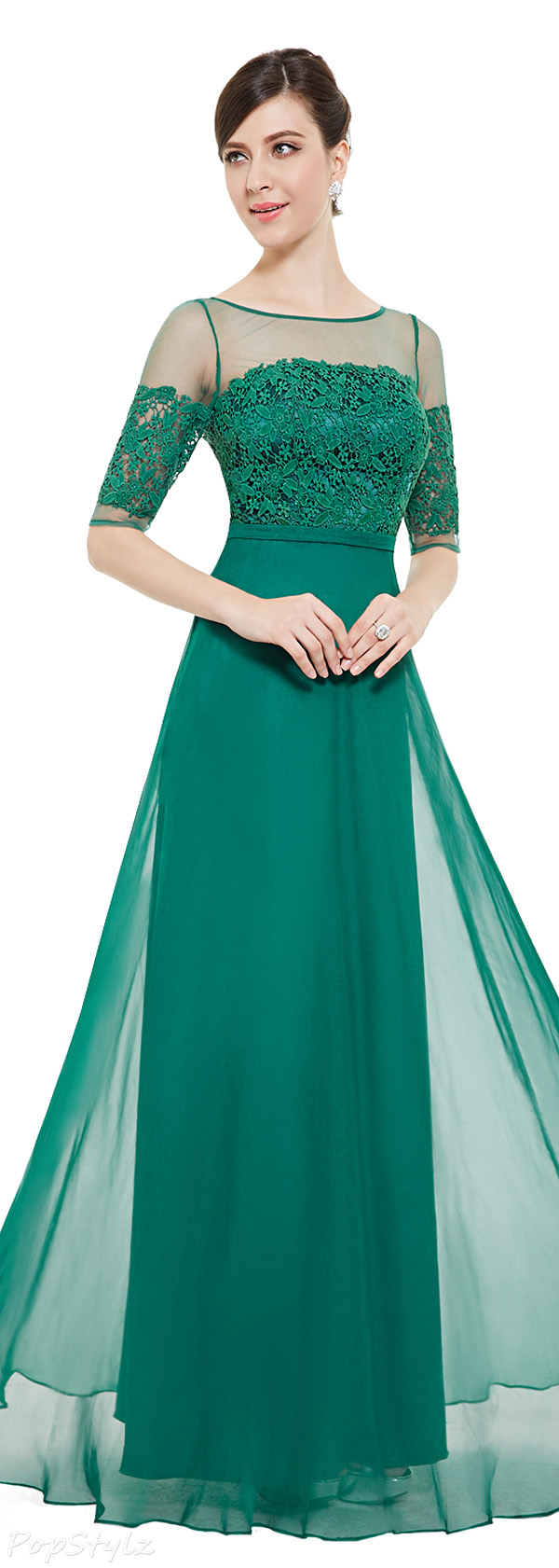 Ever Pretty 08459 Lace Illusion Half Sleeve Elegant Evening Dress/Prom Gown