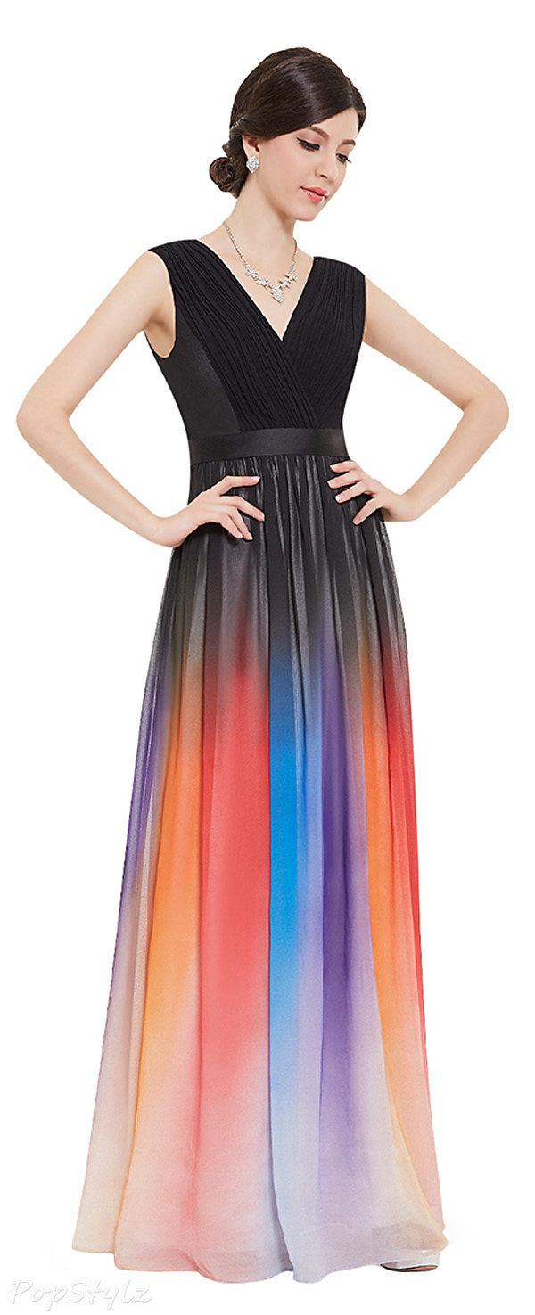 Ever Pretty 08461 Double V-Neck Colorful Empire Waist Evening Dress