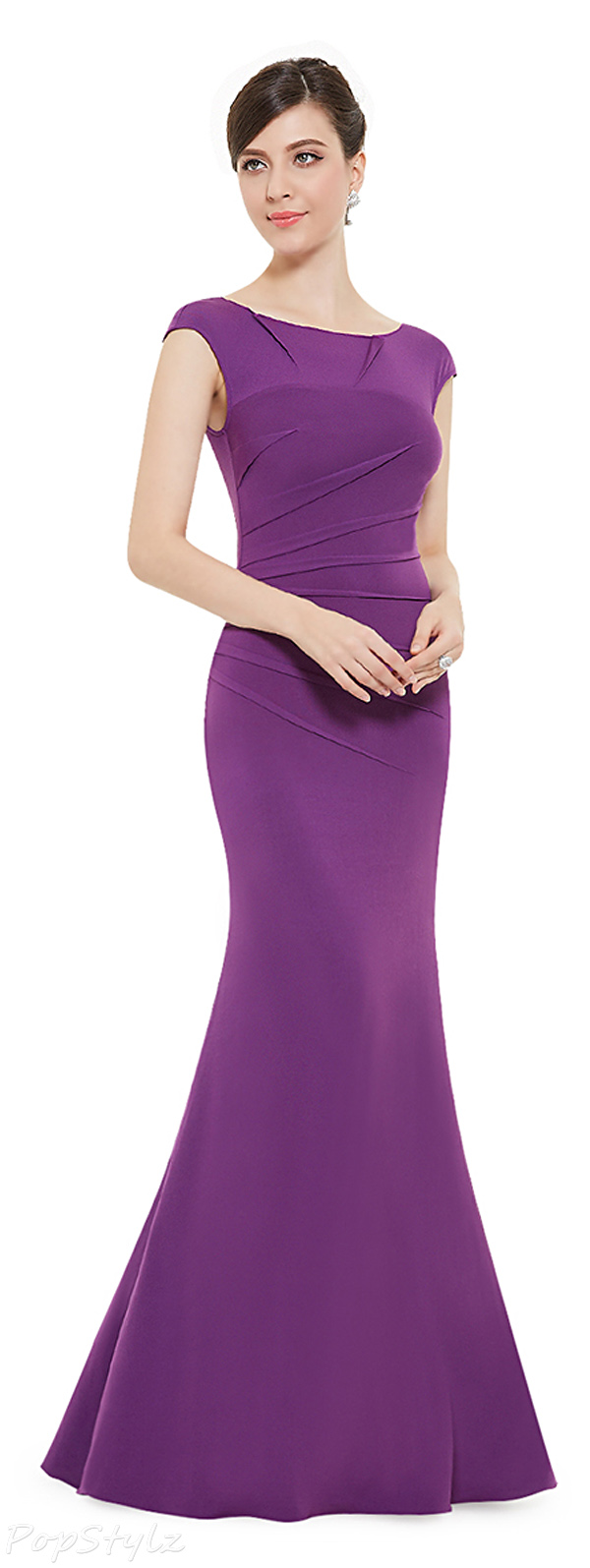 Ever Pretty 08483 Purple Floor Length Open Back Trailing Evening Dress
