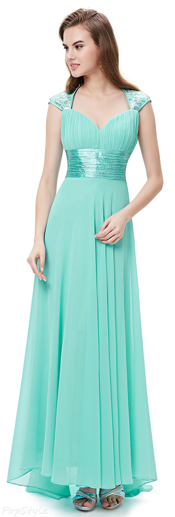 Ever Pretty 09672 V-neck Ruched Empire Line Long Dress