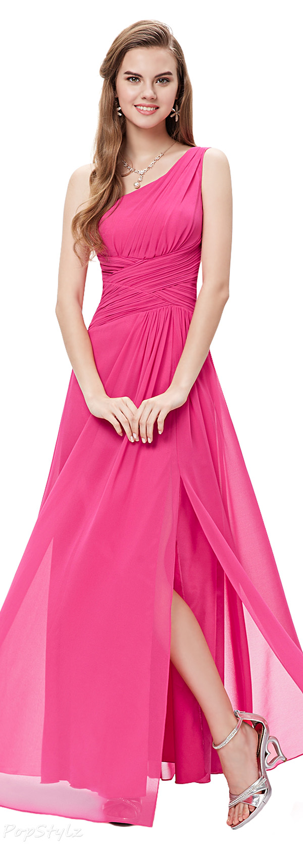 Ever Pretty 09905 Elegant Long One Shoulder Slitted Ruched Evening Dress