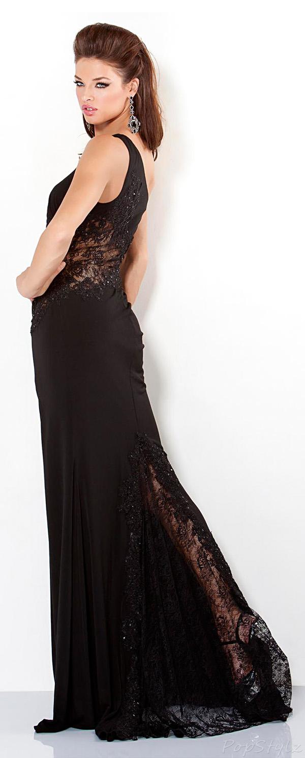 Jovani 2555 Black One Shoulder Evening Gown