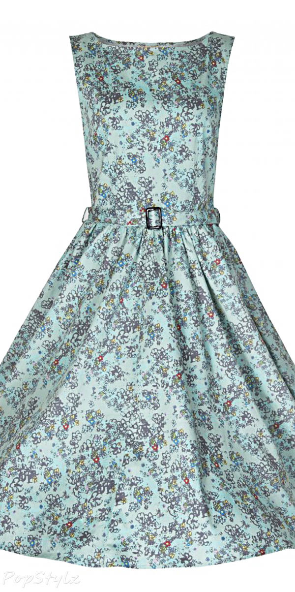 Lindy Bop Women's Turquoise 'Audrey' Classy Floral Print Hepburn Style Vintage 1950's Dress