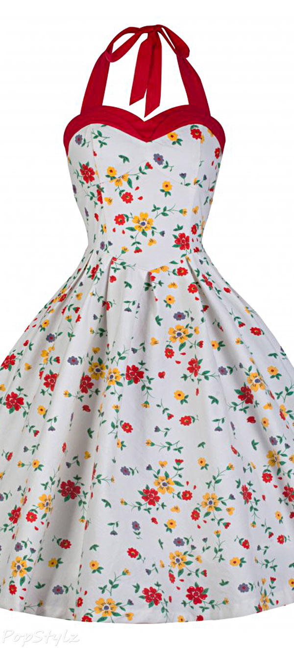 Lindy Bop 'Carola' Vintage 1950's Ditzy Summer Meadow Floral Print Halter Neck Dress