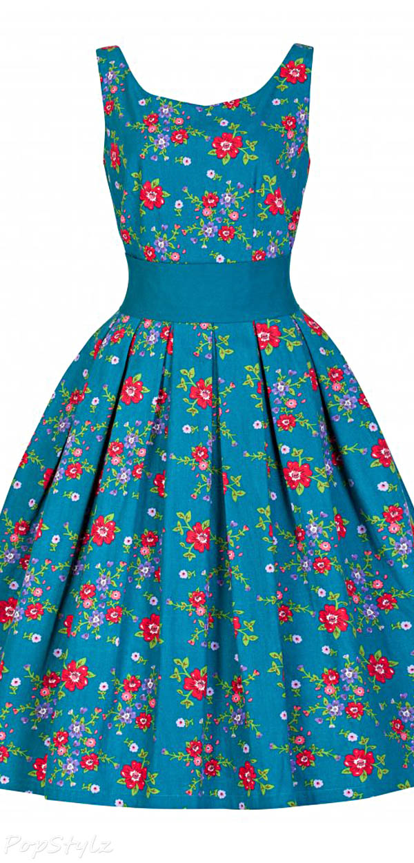 Lindy Bop 'Lana' Elegant Teal Floral Vintage 1950's Garden Party Dress