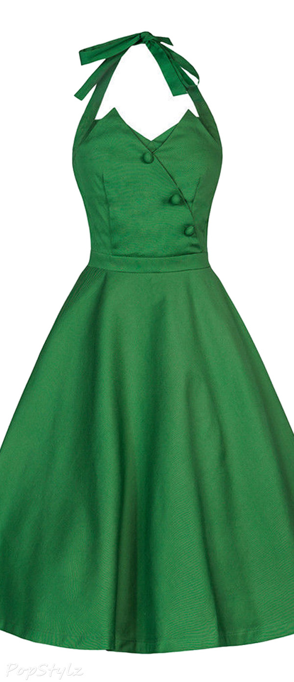 Lindy Bop 'Myrtle' Classy Vintage 1950's Halter Neck Flared Swing Party Dress